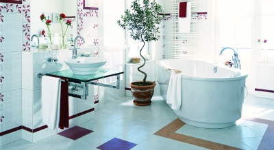 Ceramic tiles in combination bathroom