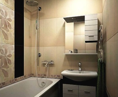 Khruschovka - beige with brown inserts bathroom