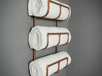 Copper water heated towel rack with shelves for towels