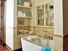 Cabinets and shelves for storage in the bathroom