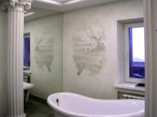 Decorative panels on plaster in the bathroom