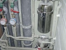 Pipes and filters for water in a box