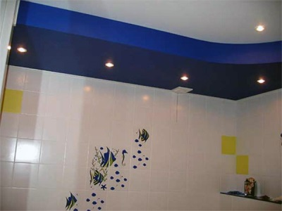 The combination of cladding and ceilings in a small bathroom