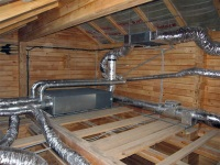 The ventilation system in a wooden house