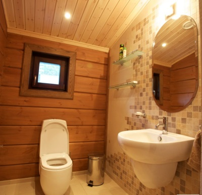 Toilet in a wooden house with window