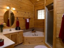 Bath and shower in a wooden house