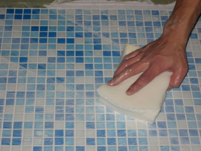 Grout the tile joints
