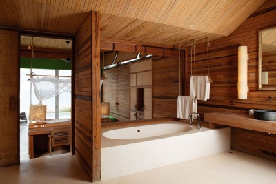 bath in a wooden house