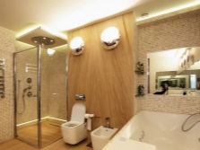 Floor and LED lighting in the bathroom