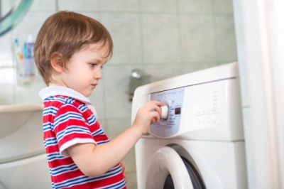 Children and washing machine