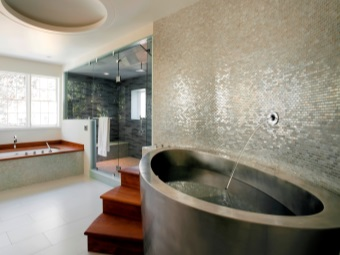 Oval stainless steel bath