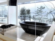 The oval bathtub , and it is suitable for bathroom design