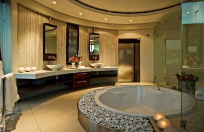 Design a bathroom with a round bath