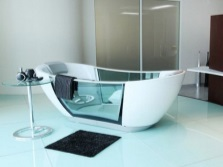 Bath with a transparent board