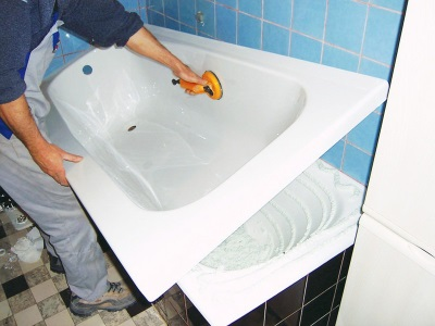 Updating coating cast iron tub - acrylic insert