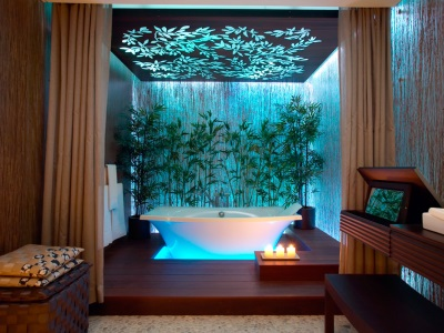 very beautiful bathroom with illuminated