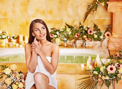 Bath with herbs preparation