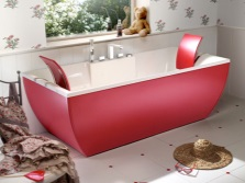 Red acrylic bathtub