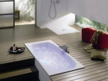 Integrated bath with easy access to communications