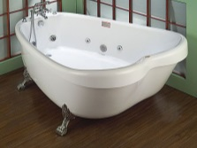 Unusual tub with whirlpool feet