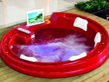 Red mini pool with hydro massage and lighting