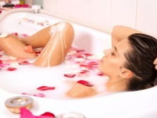 Cleopatra bath with milk and rose petals