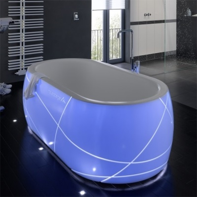 Bath with artificial stone backlighting