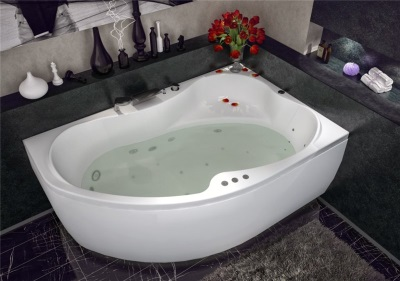 Corner acrylic bathtub with hydromassage