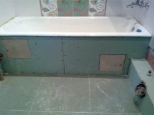 Bath screens of plasterboard for finishing