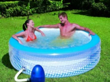 An inflatable hot tub