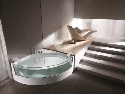 Acrylic bath with glass