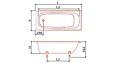 Dimensions of steel baths