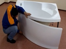 Installation of decorative panels for hot tub