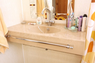 Sink made ​​of marble in the bathroom