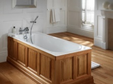 cast iron bath , hidden wooden screens