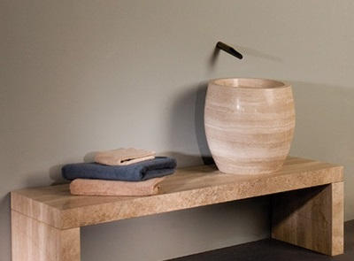 Dimensions of sinks for the bathroom - a deep washbasin with natural stone