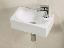 white, 40 cm wide Suspended washbasin for a small bathroom and toilet