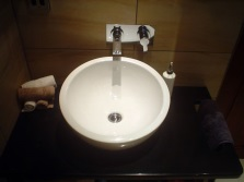 Surface large round washbasin with a white strip 65 cm Bathroom