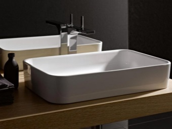 Surface mounted ceramic washbasin 70 cm wide Bathroom