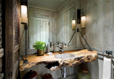 Wall built- in countertop wooden wash basin in the bathroom