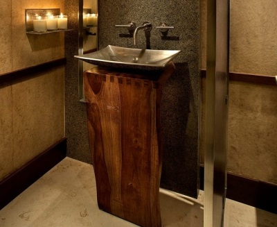 Washbasin on a stand made ​​of natural wood