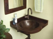 Corner hanging wash basin in the bathroom