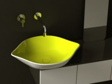Surface yellow-white wash basin in the form of lemon