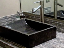 Rectangular washbasin for bathroom in black marble