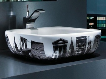 Surface wash basin with a pattern for the bathroom