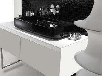 Black rectangular invoice washbasin Bathroom