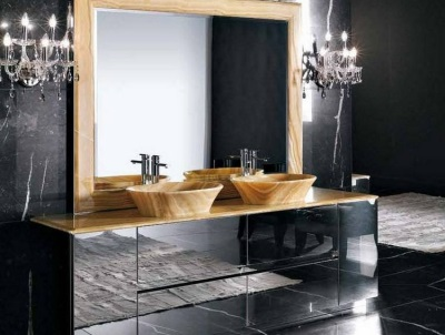 Cabinet with sink and mirror in the bathroom