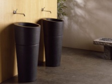 Basins made of natural stone