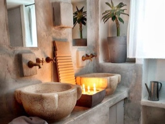 Design a bathroom with natural stone sinks