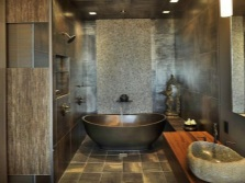 A suitable design of the bathroom with natural stone sink